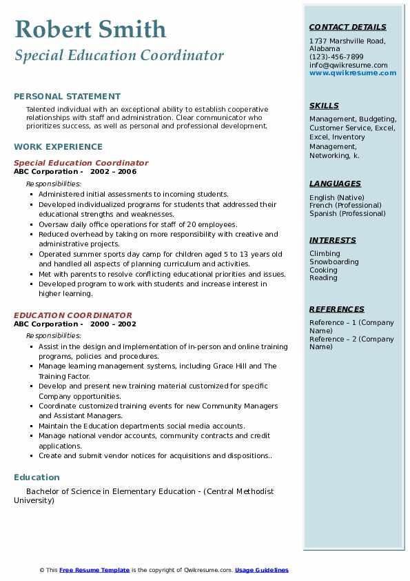 Special Education Coordinator Resume Sample