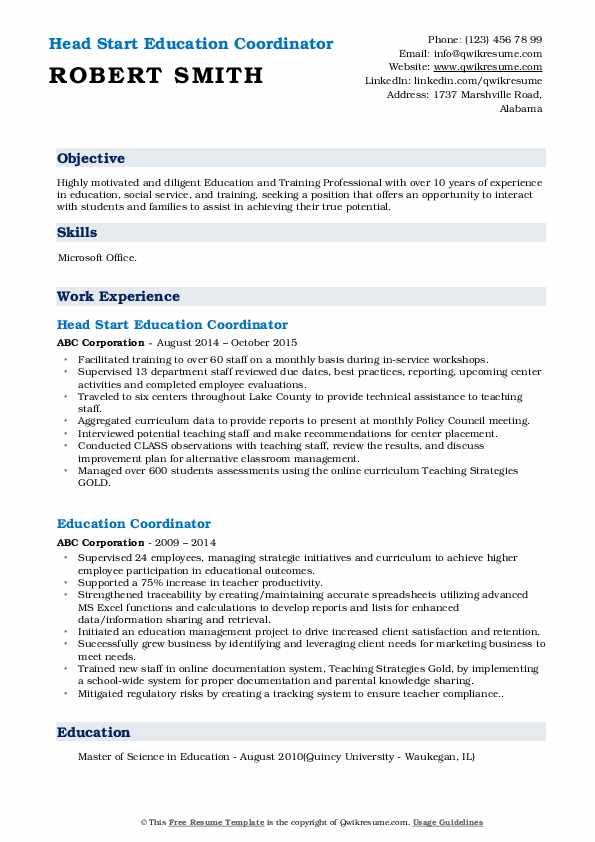 Head Start Education Coordinator Resume Sample