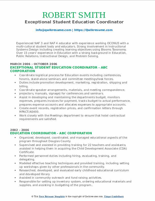 Exceptional Student Education Coordinator Resume Template