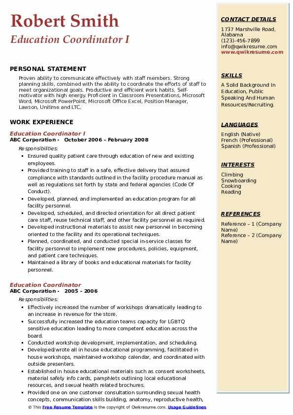 Education Coordinator I Resume Format