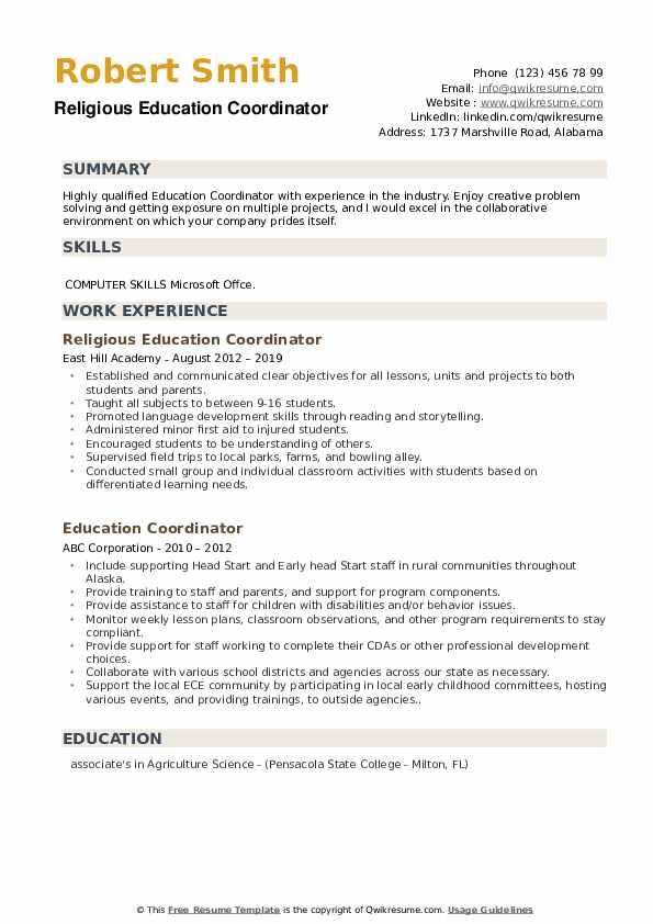 Religious Education Coordinator Resume Format