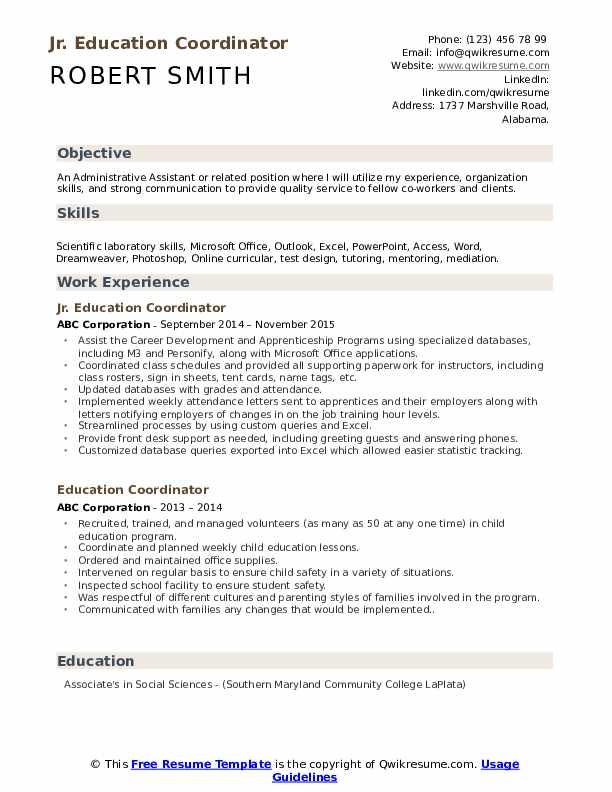 Jr. Education Coordinator Resume Format