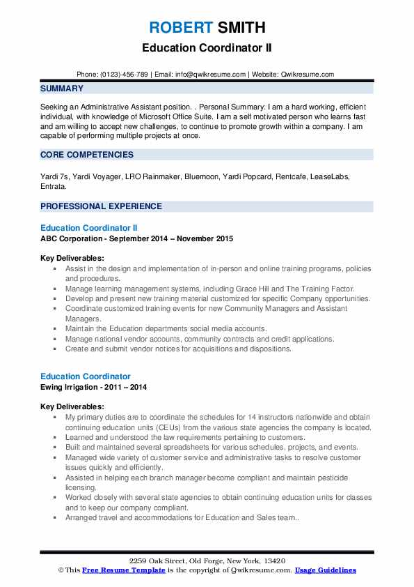 Education Coordinator Resume Samples | QwikResume