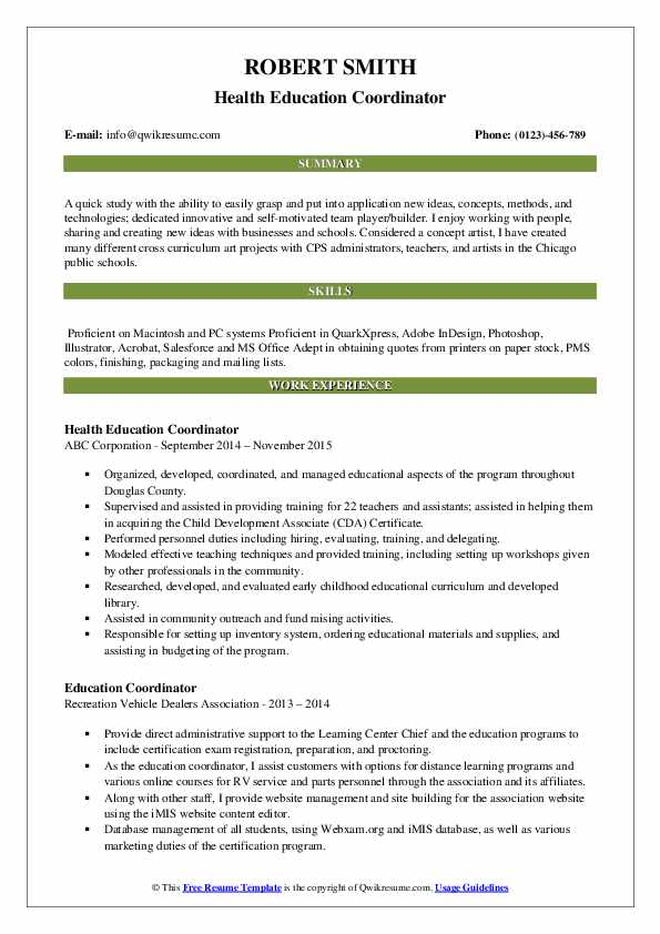 education coordinator resume samples