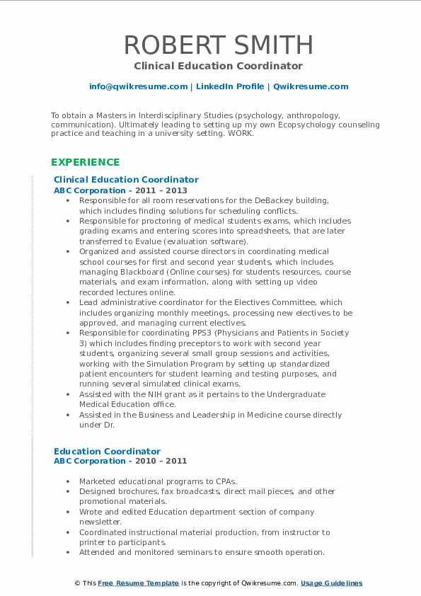 Clinical Education Coordinator Resume Format