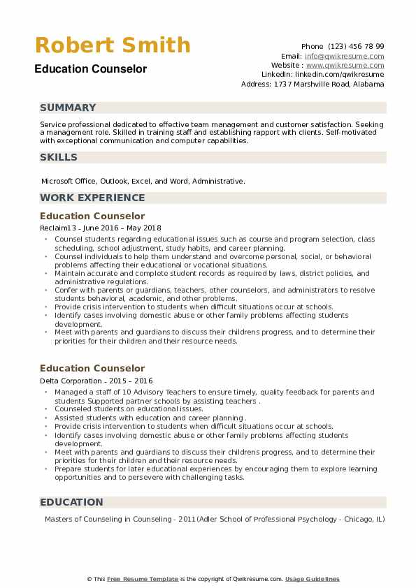 Education Counselor Resume example
