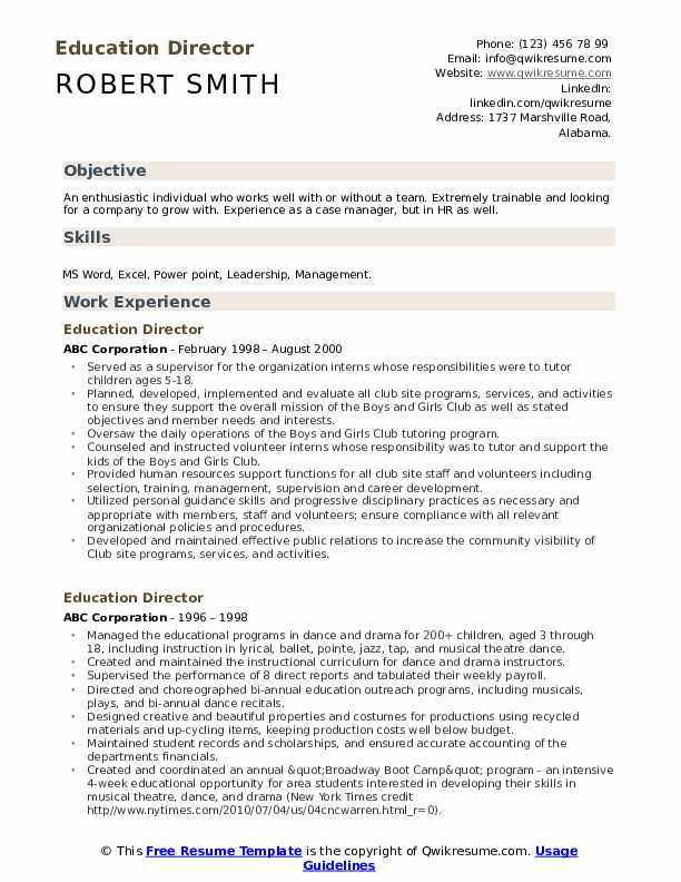 Education Director Resume Template