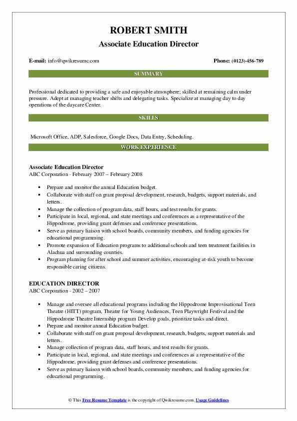 Associate Education Director Resume Example