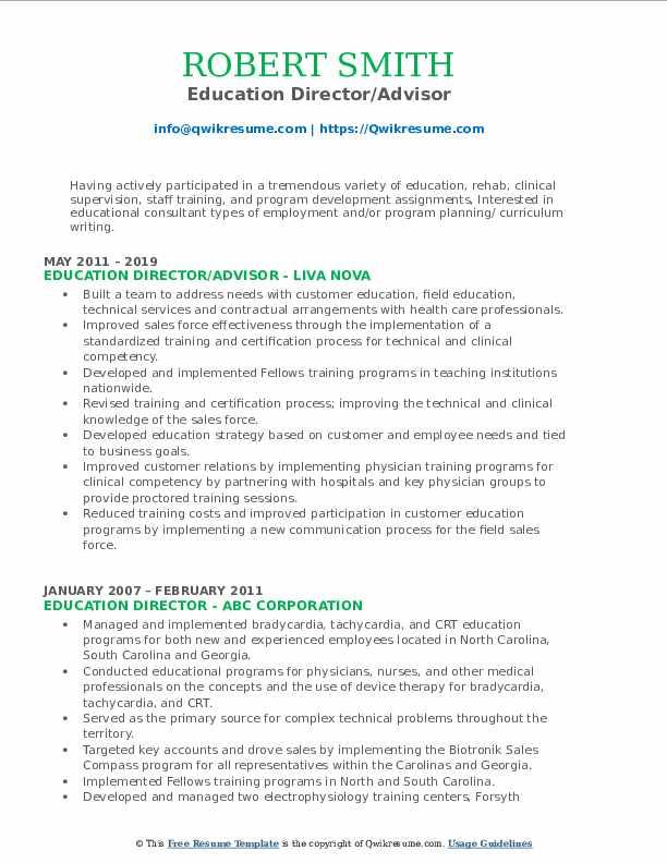 Education Director/Advisor Resume Example
