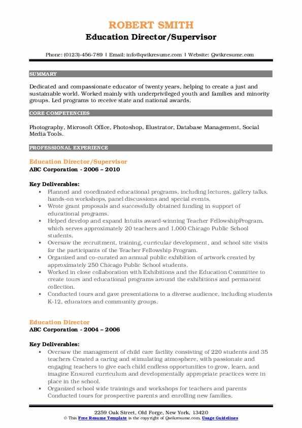 Education Director/Supervisor Resume Format