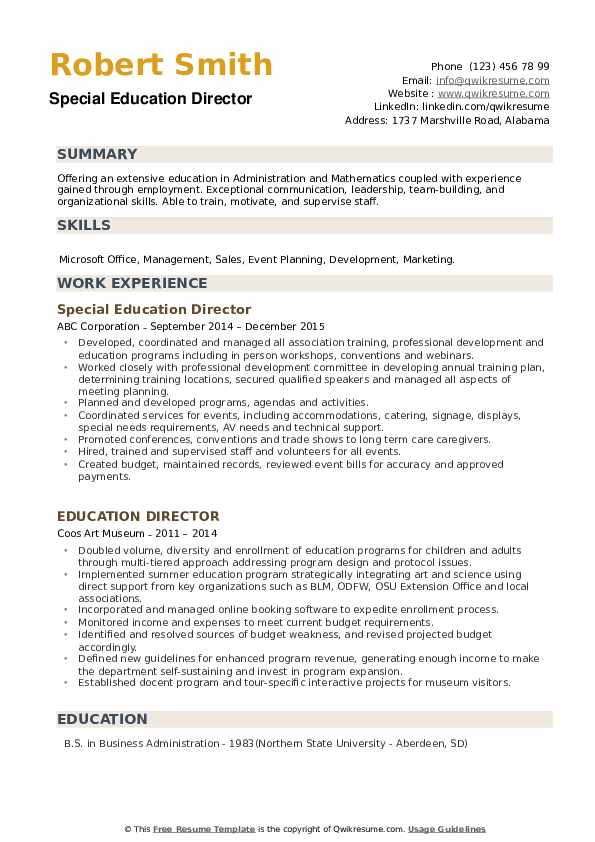 Special Education Director Resume Template