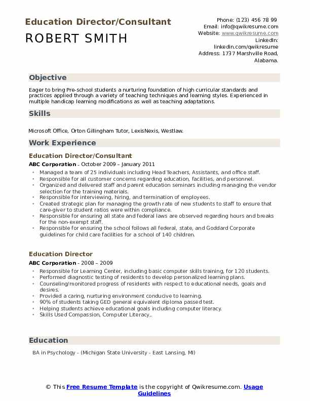 Education Director/Consultant Resume Example