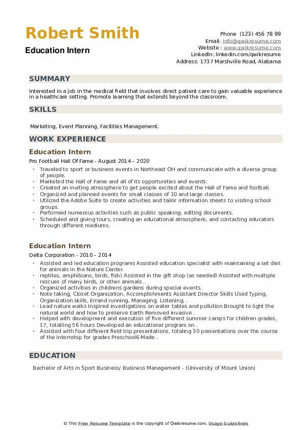 Education Intern Resume example