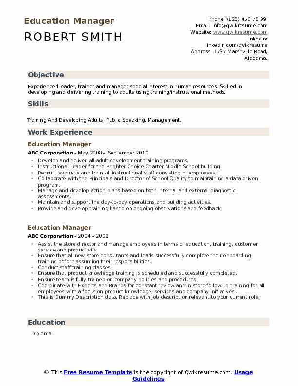 Education Manager Resume example
