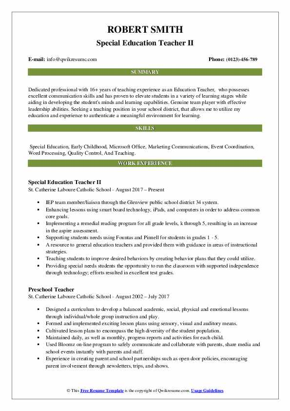 Education Teacher II Resume Model
