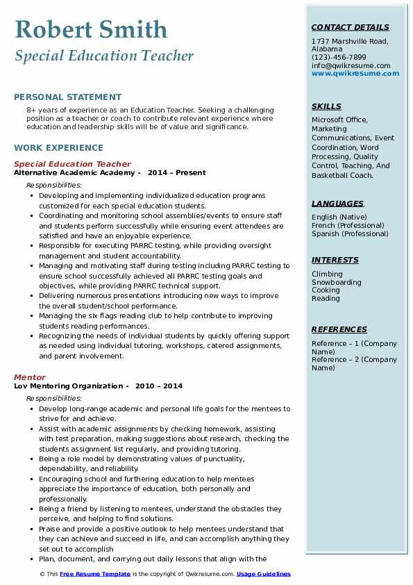 Education Teacher Resume Model