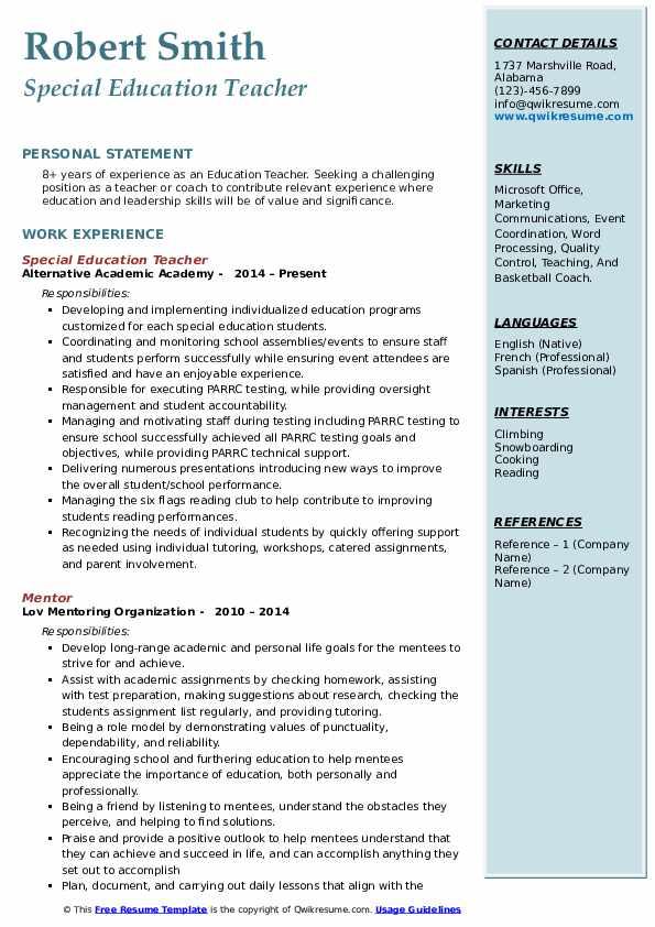 Education Teacher Resume Format