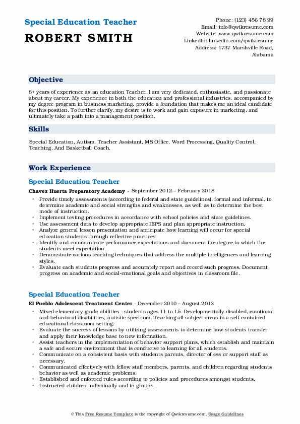 Education Teacher Resume Model