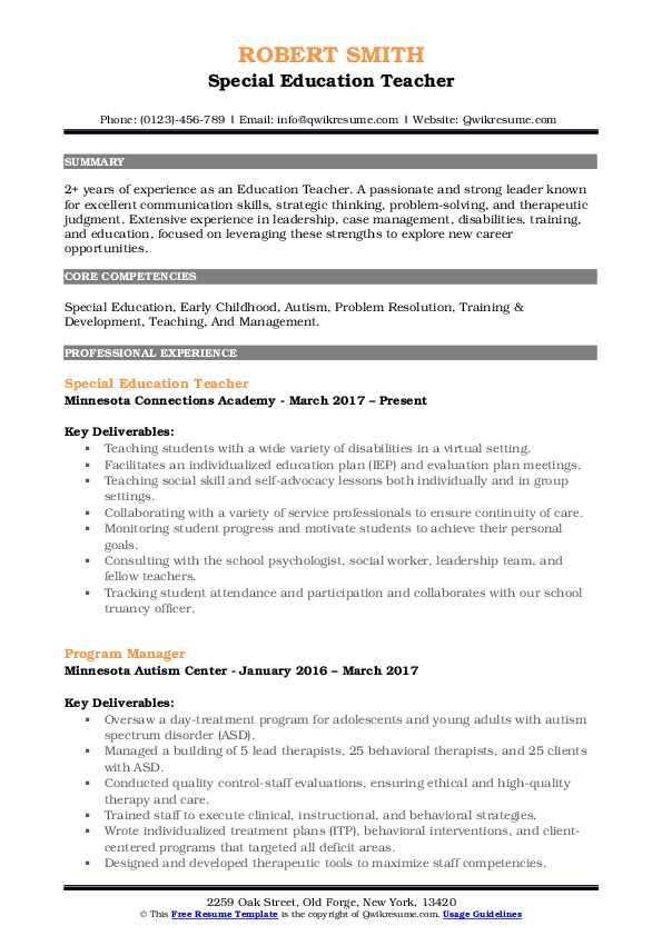 Education Teacher Resume Template