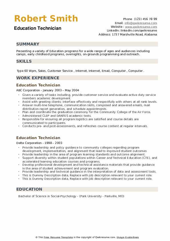 Education Technician Resume example