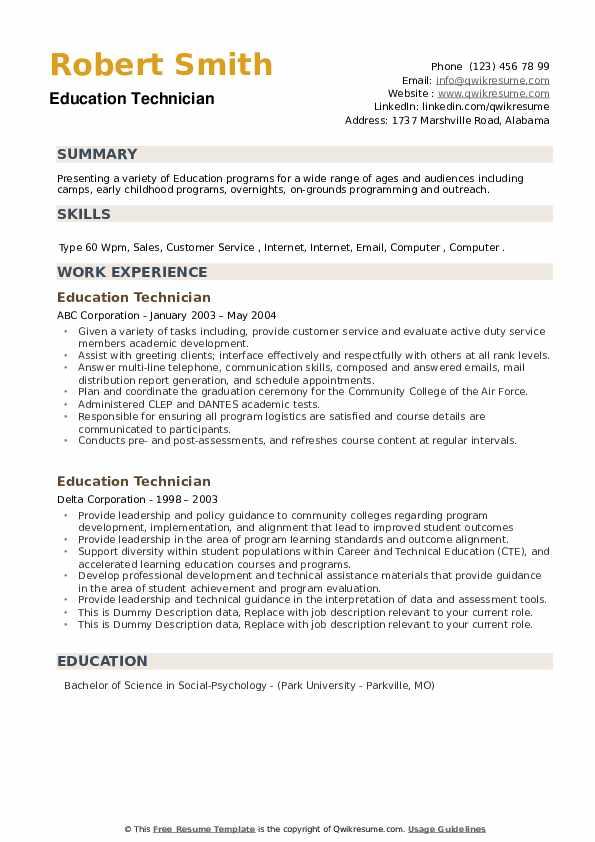 Education Technician Resume example