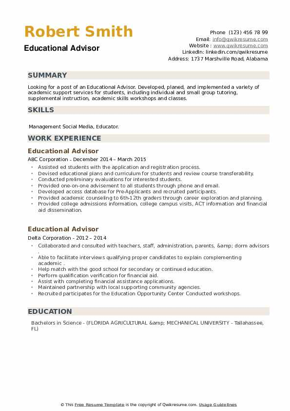 Educational Advisor Resume example