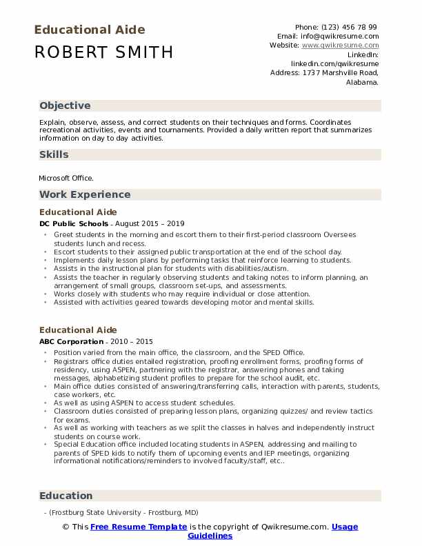 Educational Aide Resume Template