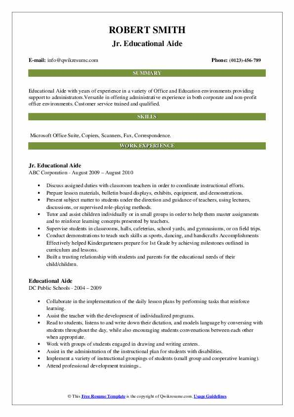 Jr. Educational Aide Resume Sample