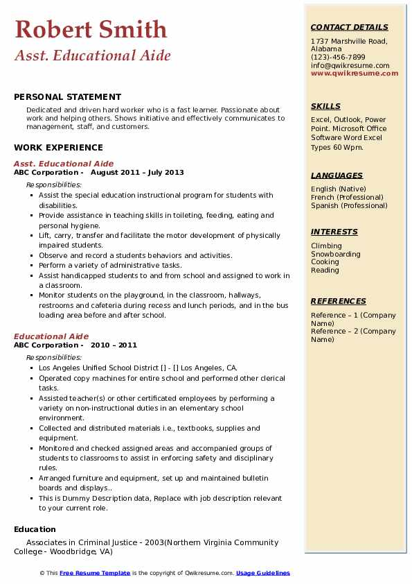 Asst. Educational Aide Resume Format