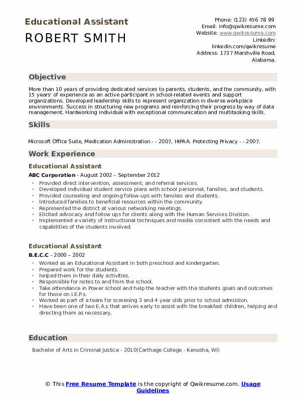 Educational Assistant Resume Template