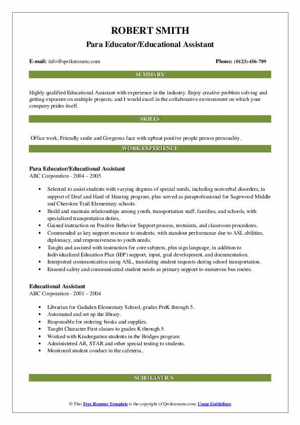 Para Educator/Educational Assistant Resume Sample