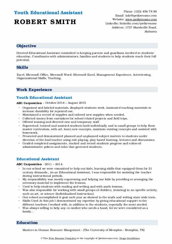 Youth Educational Assistant Resume Template