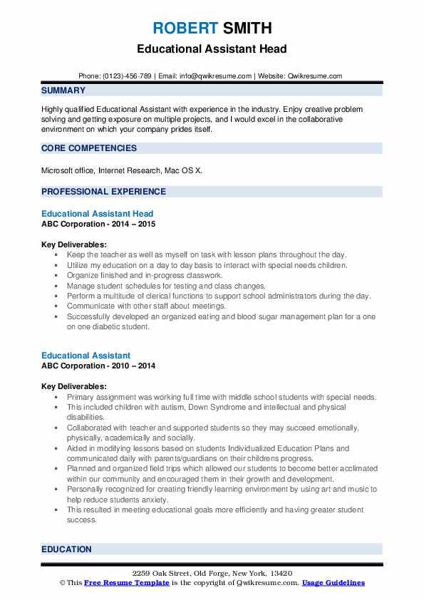 Educational Assistant Head Resume Sample