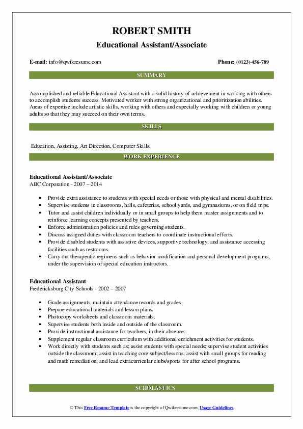Educational Assistant/Associate Resume Format