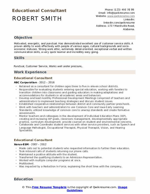 Educational Consultant Resume Model