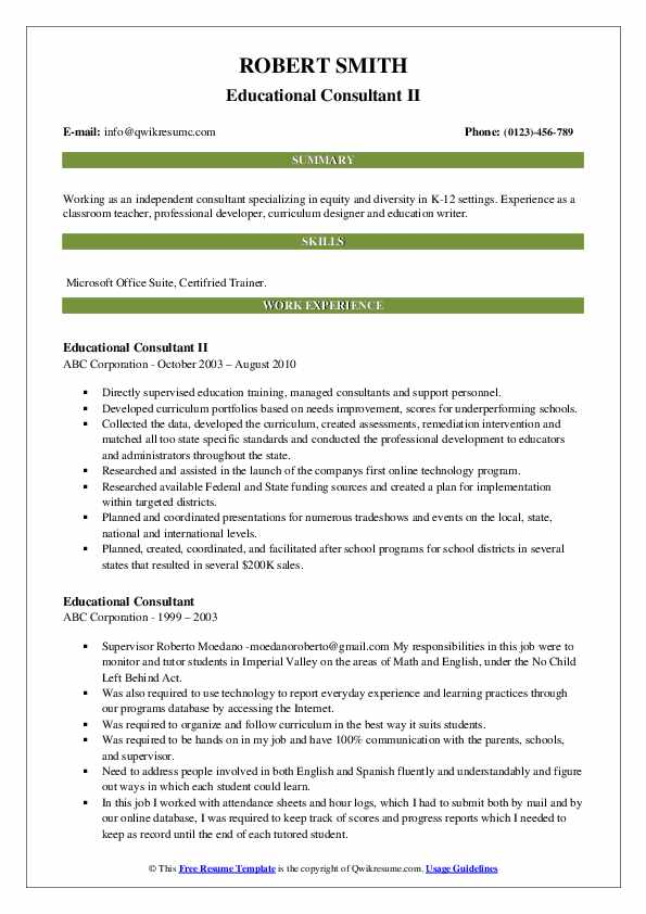 Educational Consultant II Resume Model