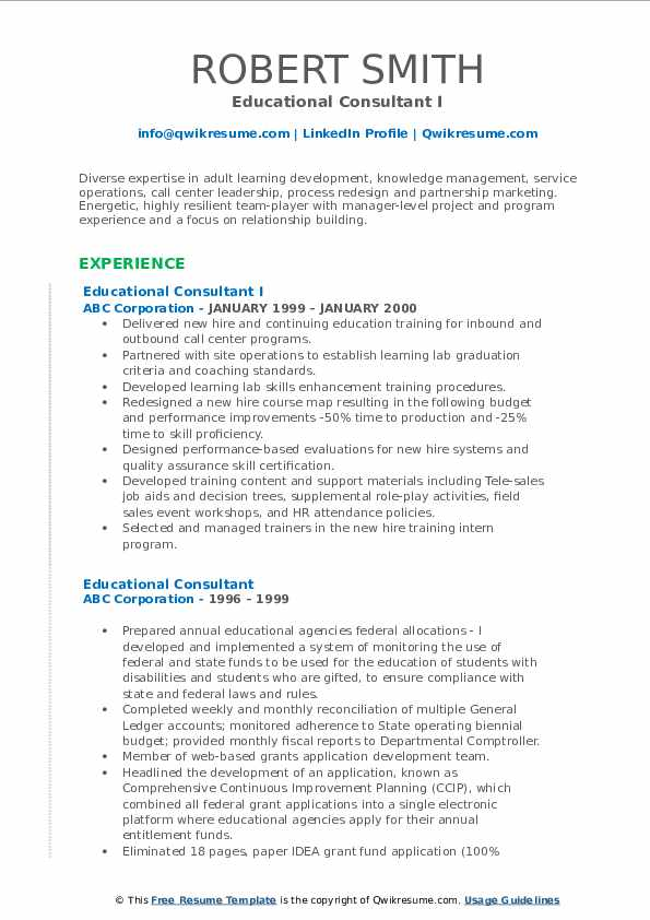 Educational Consultant I Resume Sample