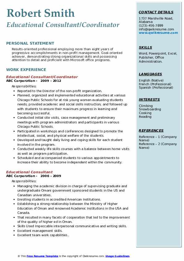 Educational Consultant/Coordinator Resume Example