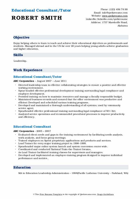 Educational Consultant/Tutor Resume Template