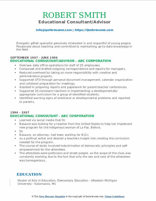 Educational Consultant/Advisor Resume Model