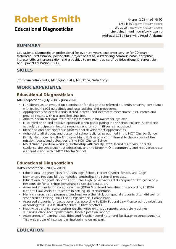 Educational Diagnostician Resume example