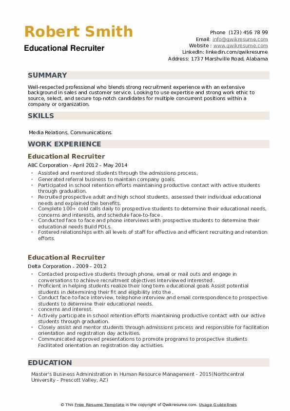 Educational Recruiter Resume example