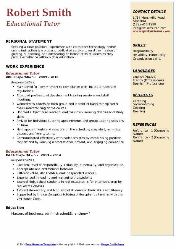 educational tutor resume samples  qwikresume