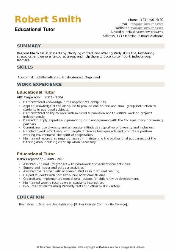 Educational Tutor Resume example