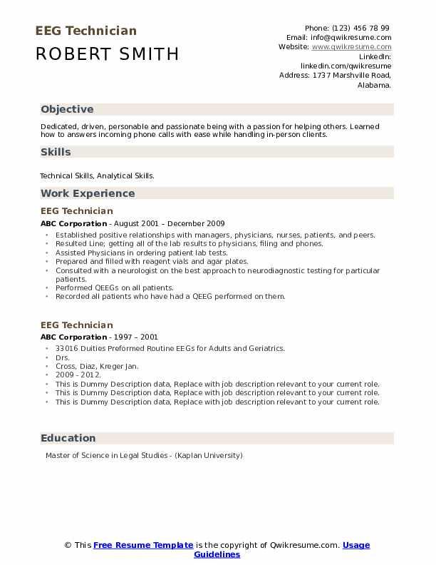 Eeg Technician Resume example