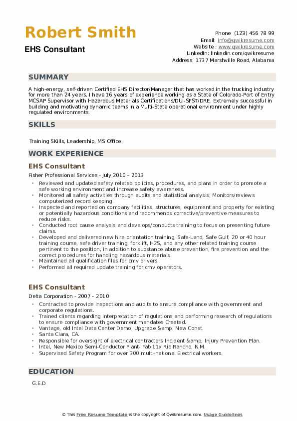 EHS Consultant Resume example