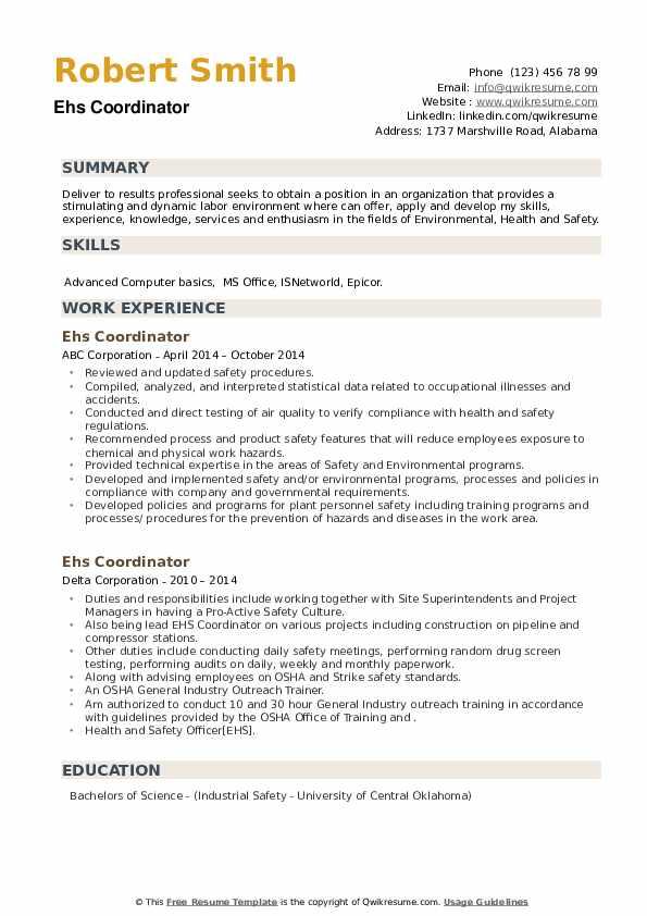 EHS Coordinator Resume example