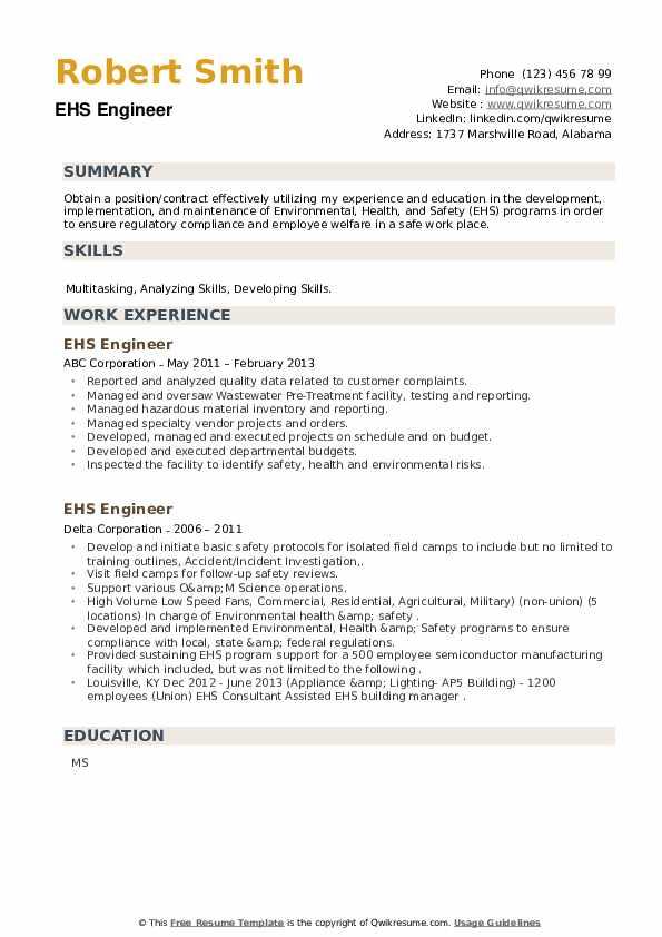 EHS Engineer Resume example