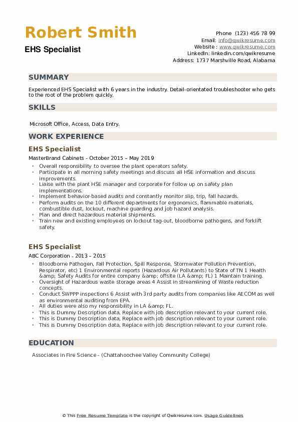 EHS Specialist Resume example