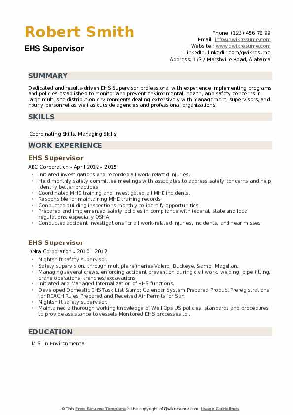 EHS Supervisor Resume example